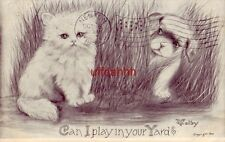 Can I Play In Your Yard? 1909 dog and cat in the grass Cpyrt V. Colby
