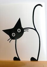 adesivo GATTO NERO gattino wall sticker decal vynil vinile black cat murale ok