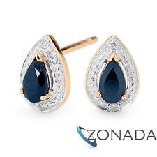 Teardrop Sapphire And Diamond Earstuds Sapphire Studs 9Ct Yellow Gold Earrings