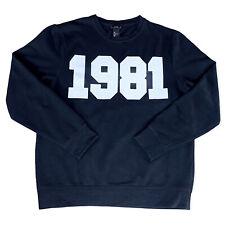 1981 Spellout Sweatshirt H&M Monochrome Mens Large Unisex Black Jersey Jumper