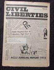 1975 American CIVIL LIBERTIES Union ACLU Newspaper VG/FN #306 Annual Report