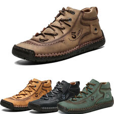 Mens Cowhide Leather Ankle Soft Comfort Boot Formal Casual Low Top Lace Up Shoes