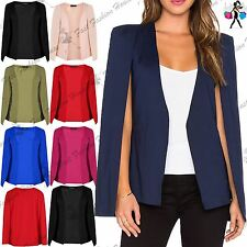 Womens Ladies Shawl Collared Open Placket Blazer Coat Cape Top Plus Size UK 8-22