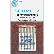 Schmetz Leather Sewing Machine Needles 15x2 Size 18 Singer Kenmore White Elna