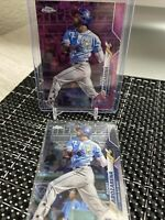 2020 Topps Chrome Update Randy Arozarena Pink Wave Refractor RC SSP RAYS (2) Lot
