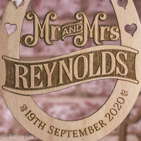 Personalised Rustic Wooden Mr and Mrs Good Luck Wedding Horse Shoe Keepsake Gift