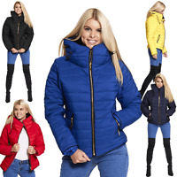 Womens Ladies Quilted Padded Puffer Bubble Fur Collar Warm Jacket Coat 8 - 26-28