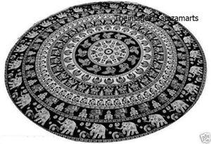 New Round Mandala Beach Throw Tapestry Yoga Mat Decor Indian Black White Roundie