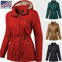 Womens Hooded Sherpa Lined Jacket Fur Coat Military Utility Parka Anorak Style