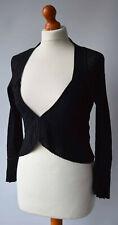 Ladies Karen Millen Black Cardigan Pleated Fluted Sleeves Size UK 8