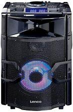 Lenco PMX-250 Mobile PA-Anlage mit Akku, DJ-Mixer und Licht-Effekten