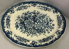 "UNUSED JG Meakin Avondale Blue & White Transfer Print 14"" Oval Serving Platter"