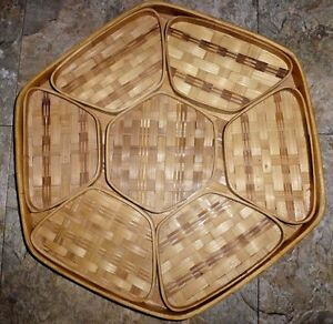 Bamboo Serving Basket Caddy Chip Dip Veggie Fruit Tray & Bowl Party