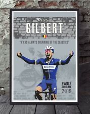 Philippe Gilbert Paris roubaix cycling poster print. Specially created