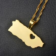 Puerto Rico With Heart Map Pendant Necklaces Gold Color