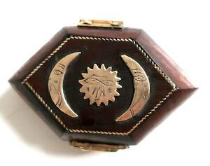 Small decorative hexagonal wooden box/jewellery box with brass decorations new