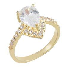 Ladies White Gold Plated Heart Zirconia Engagement Rings Wedding Valentine Gift