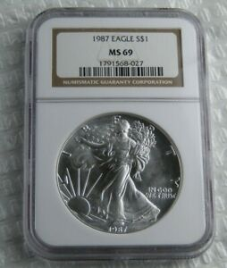 1987 Uncirculated American Silver Eagle Certified NGC MS 69