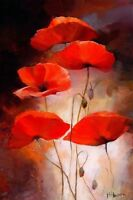 CHOP264 100% hand-painted modern red flowers art  oil painting on canvas