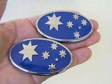 SOUTHERN CROSS FLAG PAIR BLUE BADGE Metal Emblem HOLDEN *Factory 2nd* Australia