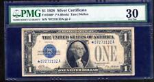 STAR 1928 1 DOLLAR SILVER CERTIFICATE (*A BLOCK) STAR NOTE PMG 30  LQQK!*