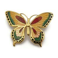 Vintage Gold Tone Multi Colored Cloisonné Butterfly Brooch Scarf Lapel Pin