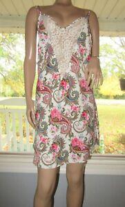 VTG Victoria Secret Gold Label Paisley Floral CHEMISE Slip Night Dress LG