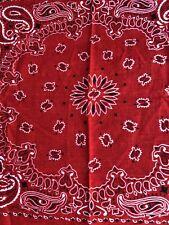 "Vtg Red Cotton 🌹 Designed In Usa Rn1399 20.5"" X19"" Bandana Flower Kerchief"