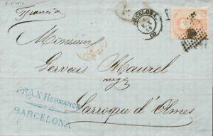 España. Cataluña. History Postal. Over 125. 1873. 40 Cts Castaño. Barcelona A