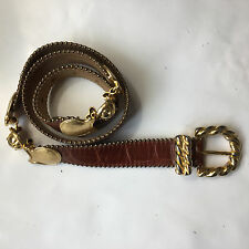 Streets Ahead Women's Belt Large Concho Brown Leather Heavy Metal Accents
