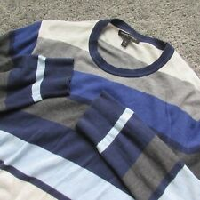 BANANA REPUBLIC MEN MEDIUM PULLOVER SWEATER STRIPE BLUE GREY WHITE COTTON SOFT