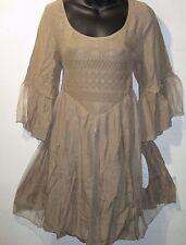Mini Dress Medium Tan Long Tunic Top Wide Lace Sleeve Feminine Fantasy NWT 2199