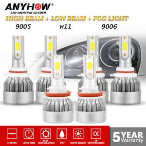9005 9006 H11 Combo COB LED Headlight Fog Light Bulbs 6000K White High Low Beam