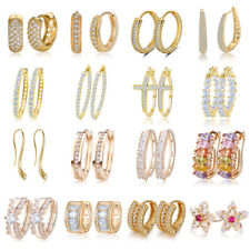 Elegant Women Gold Plated Hoop Huggie Earrings Crystal CZ Ear Stud Hook Jewelry