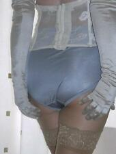 Vintage style silver silky nylon gusset full briefs knickers panties size  large