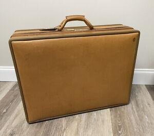 "Hartmann Luggage Belting Leather 25"" Woodbox Pullman Suitcase EUC"