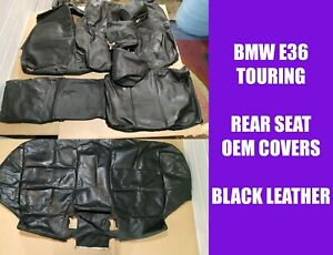COMPLETE BMW E36 TOURING REAR SEAT BENCH BLACK LEATHER COVERS UPHOLSTERY