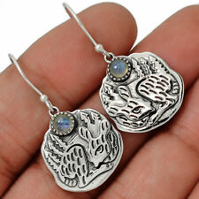 925 Silver Earrings Jewelry Ae83872 48F New listing Rabbit - Rainbow Moonstone - India