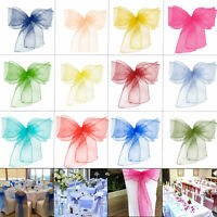 Organza Wider Sashes Chair Cover Bow Fuller Sash for Wedding Party Decor 100pcs