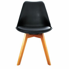 4x Artiss Padded Retro Replica Eames Eiffel DSW Dining Chairs Cafe Kitchen Black