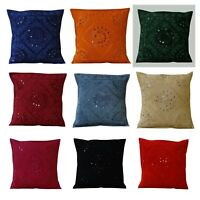 Hand Embroidered Pillow Case Indian Mirror Work Cushion Cover 40cmx40cm