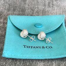 Tiffany & Co Sterling Silver Somerset Mesh Twist Knot Stud Earrings