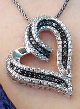"1/2 TDW Black & White Diamond Heart Pendant Necklace 20"" Sterling Silver Chain"