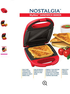 Nostalgia Red Mini Sandwich Maker Toaster NEW IN BOX