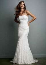 New with tag Galina size 10 Strapless Lace wedding dress Gown w/ Ribbon Detail