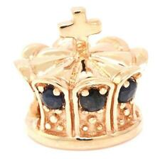 Charm Fits Euro Bracelets 30 Day Return Crown Sapphire 9ct Solid Rose Gold Bead