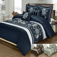 Embroidered Luxury Myra 100% Cotton 5 Piece Duvet Cover Set with Shams - 2 Sizes