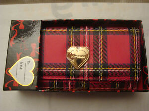 BETSEY JOHNSON PINK/MULTICOLORED PLAID SNAP TRI FIOLD CLUTCH WALLET NEW IN BOX