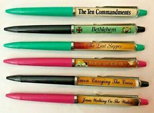 6 FLOATY PENS RELIGIOUS RELATED: BETHLEHEM LAST SUPPER PEACE 10 COMMANDMENTS ++