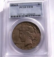1934 S PEACE DOLLAR PCGS VF 30